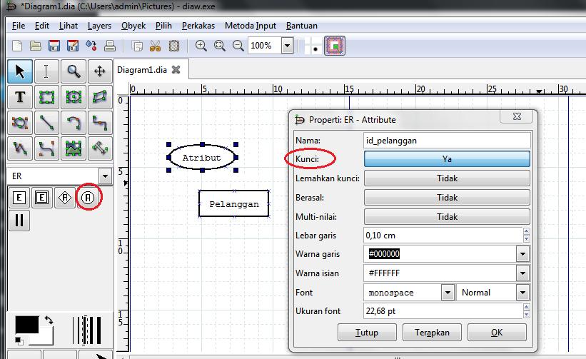 Membuat ERD Notasi Chen dengan aplikasi DIA - Nisa Meiah